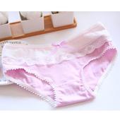 《Secret Garden》蝴蝶結蕾絲邊全棉少淑女中腰內褲SGB809(多色)(淺紫)