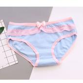 《Secret Garden》糖果色蕾絲邊全棉少淑女中低腰內褲SGY13(多色)(淺藍)