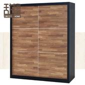 《甜蜜蜜》巴里雙色積層木5尺推門衣櫃