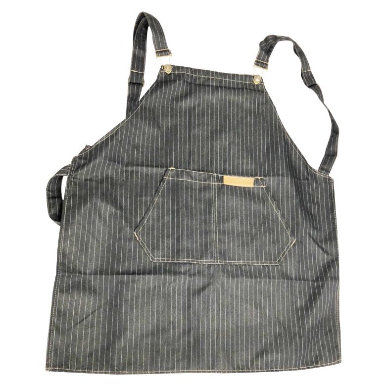 牛仔布口袋圍裙61X69cm黑條紋 $189