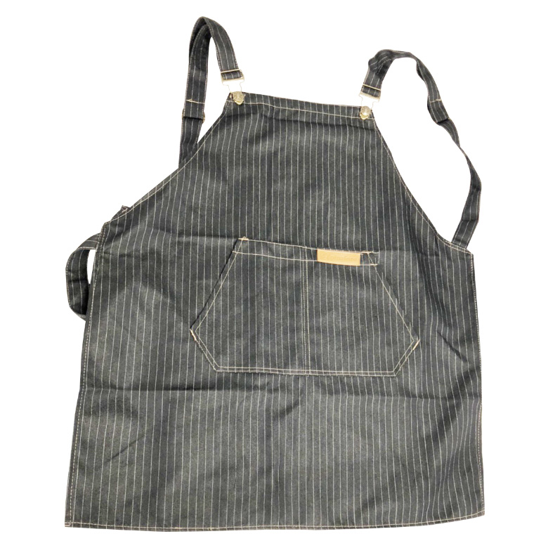 牛仔布口袋圍裙61X69cm(黑條紋)