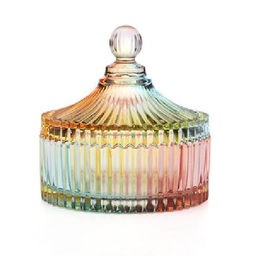 直條紋水晶玻璃罐(大-15X15.5cm)