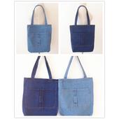 韓系簡約 水洗口袋牛仔袋 購物袋 牛仔帆布包(34*39cm/丹寧色 隨機出貨)