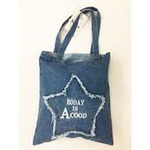 水洗刺繡星星牛仔袋 購物袋 牛仔帆布包(36*41cm/丹寧色 隨機出貨)