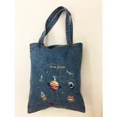 韓版童趣 淺藍太空星球牛仔袋 購物袋 牛仔帆布包(32*38cm/丹寧色 隨機出貨)