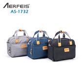 《AERFEIS》阿爾飛斯 AS-1732帆布手提側背相機包(黑)