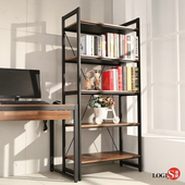 LOGIS  耐磨PVC防潑水工業風五層櫃 工作櫃 辦公櫃 書櫃 層架(長82x寬40x高177公分) B03(木紋色)
