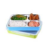 《韓式》密封304不鏽鋼四格餐盒 注水加熱-顏色隨機出貨27.5X20.5X5.5cm $239
