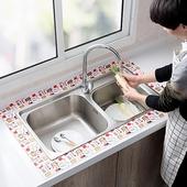 吸水防霉靜電貼 流理台 浴室 洗手台 8X280cm(印花紅)