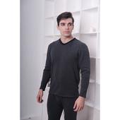 急暖絨撞色V領長袖衫-顏色隨機