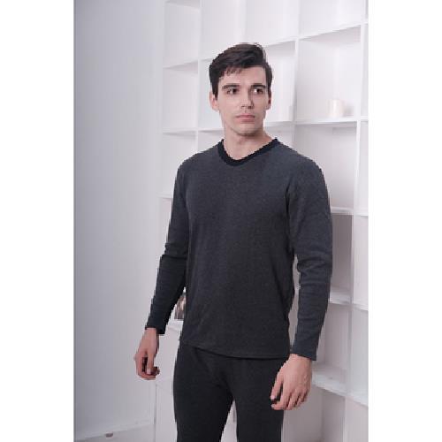 急暖絨撞色V領長袖衫-顏色隨機(L)