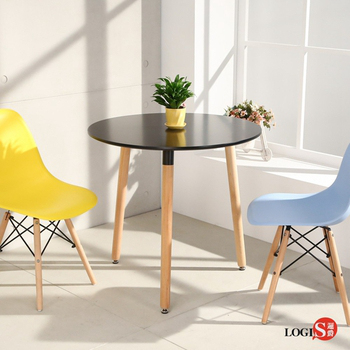LOGIS邏爵- 自然簡約北歐80CM圓形桌/ 圓桌/ 工作桌/ 書桌/ 休閒桌 C80(黑)