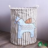 《佶之屋》日雜可愛大容量防水棉麻收納桶 40x50(雨點馬)