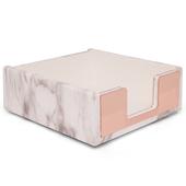 《Novella Amante》大理石紋便籤盒-玫瑰金(10x10x3.8cm)