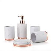 《Novella Amante》奢華風陶瓷衛浴套組 5件組白色大理石紋 $799
