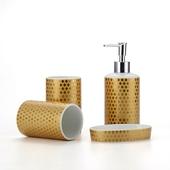 《Novella Amante》奢華風陶瓷衛浴套組- 金色風華4件組 $799