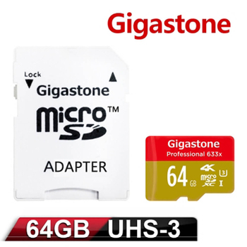 《Gigastone》Gigastone 64GB MicroSDXC UHS-I U3 高速記憶卡 (附轉卡)(64GBU3)