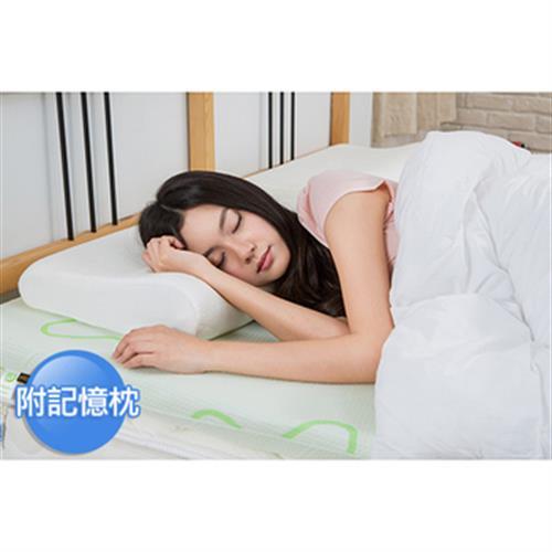 《MIT台灣製》天絲波浪記憶床墊附記憶枕(3X6.2尺)