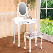 《Homelike》古典歐風化妝台純-白色
