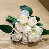 《仿真花》手紮卡洛琳玫瑰(白色-12*12*25公分)