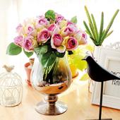 《仿真花》手紮卡洛琳玫瑰淺紫-12*12*25公分