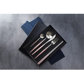 葡萄牙304不鏽鋼餐具五件套組(粉(餐刀+餐勺+餐叉+咖啡勺+筷子))