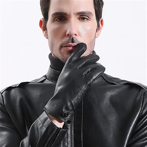 男士觸屏加絨保暖真皮手套(M)