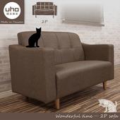 《沙發【久澤木柞】》文青貓抓皮雙人座沙發(淺咖啡色)