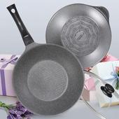 《Kitchen Art》原石輕量鈦石鍋/不沾鍋雙鍋組28cm組(炒鍋+湯鍋+玻璃鍋蓋+原木鍋鏟)