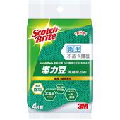 《3M 百利》Scotch-Brite潔力豆海綿菜瓜布(爐具/鍋具專用 ; 4片裝)