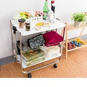 《上宜家居》多功能折疊式推車 收納推車 移動餐車 野餐桌 露營桌 台灣製造(電鍍x白)