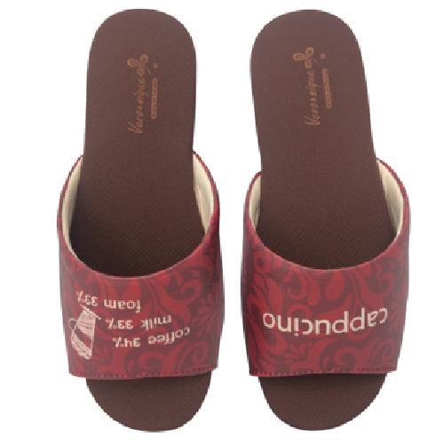 《維諾妮卡》MIT台灣製 幸福咖啡室內拖鞋-卡布奇諾 紅(S)