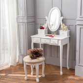 《AccessCo》新古典法式公主風水晶化妝桌椅組 純潔白(純潔白)