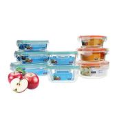 多功能分隔式 一般3格款 玻璃保鮮盒   (6入組)