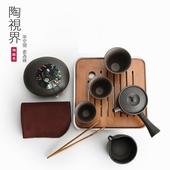 《陶視界》日式仿古粗陶茶具組(一壺三杯六件套)