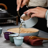 汝窯陶瓷茶具旅行組(壺*1+杯*5+盤*1+夾*1+巾*1+收納箱*1)
