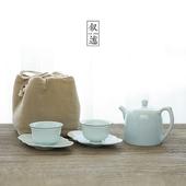 《敘述》影青茶具組(杯X2盤X2壺X1袋X1)