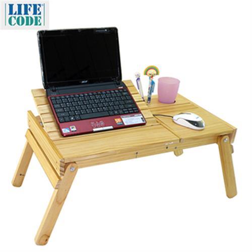 《LIFECODE》懶人松木折疊桌 免運(60X35X28cm)