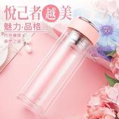 《香港RELEA物生物》悅己雙層玻璃杯390ml/個-顏色隨機出貨(棕/黑/藍/粉)
