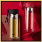 《香港RELEA物生物》型格耐熱雙層玻璃杯-黑/紅隨機出貨(300ml/個)