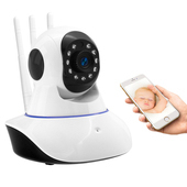視訊王 三天線旋轉鏡頭紅外線夜視WiFi網路監控攝影機(白色)