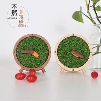 木然 muran 原木圓時鐘 靜音桌面時鐘 靜音 座鐘 實木時鐘 個性時鐘 擺設 禮物 (12cm)(沙比利(深色))