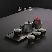 粗陶釉彩茶具組(一壺四杯一茶盤一茶葉罐)