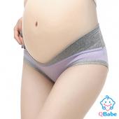 《QBabe》純棉V型低腰托腹無痕三角孕婦內褲(6色)(紫色-M)