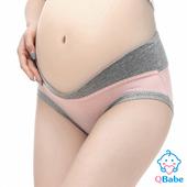 《QBabe》純棉V型低腰托腹無痕三角孕婦內褲(6色)(西瓜紅色-M)