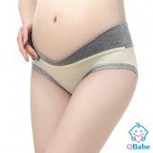 《QBabe》純棉V型低腰托腹無痕三角孕婦內褲(6色)(淡黃色-M)