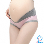 《QBabe》純棉V型低腰托腹無痕三角孕婦內褲(6色)(淺粉色-M)