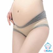 《QBabe》純棉V型低腰托腹無痕三角孕婦內褲(6色)(膚色-M)