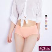 《Olivia》透氣棉蕾絲邊中腰三角內褲-橘色(橘色)