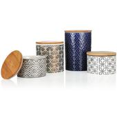 浮雕陶瓷儲物罐-花色隨機出貨(中 11X11.5cm)